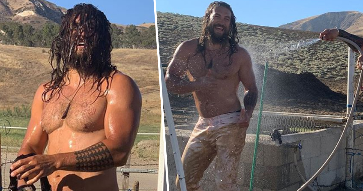 Muddy Jason Momoa Gets Hosed Down After Dune Buggy Ride