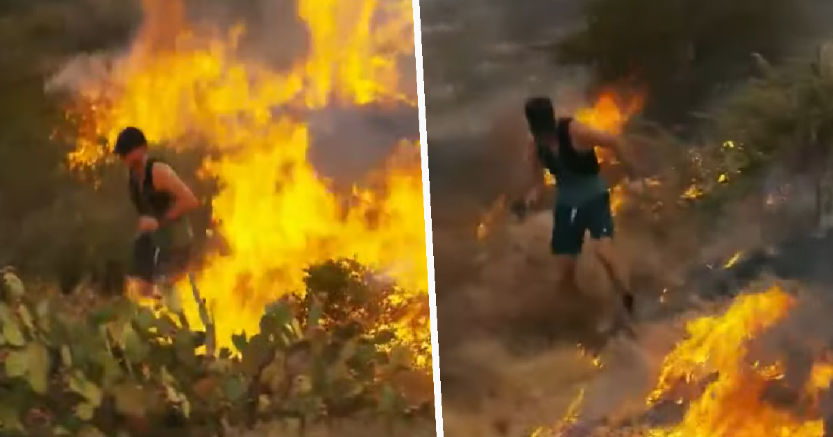 Jogger Caught Putting Out Wildfire With His Feet As Trail Blazes Behind Him