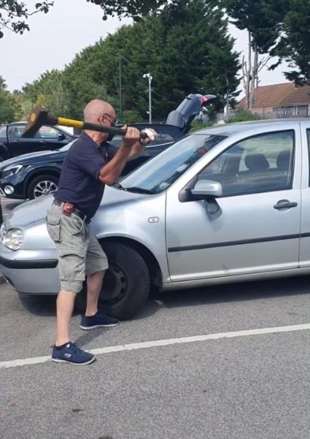 man uses axe to rescue dog from car
