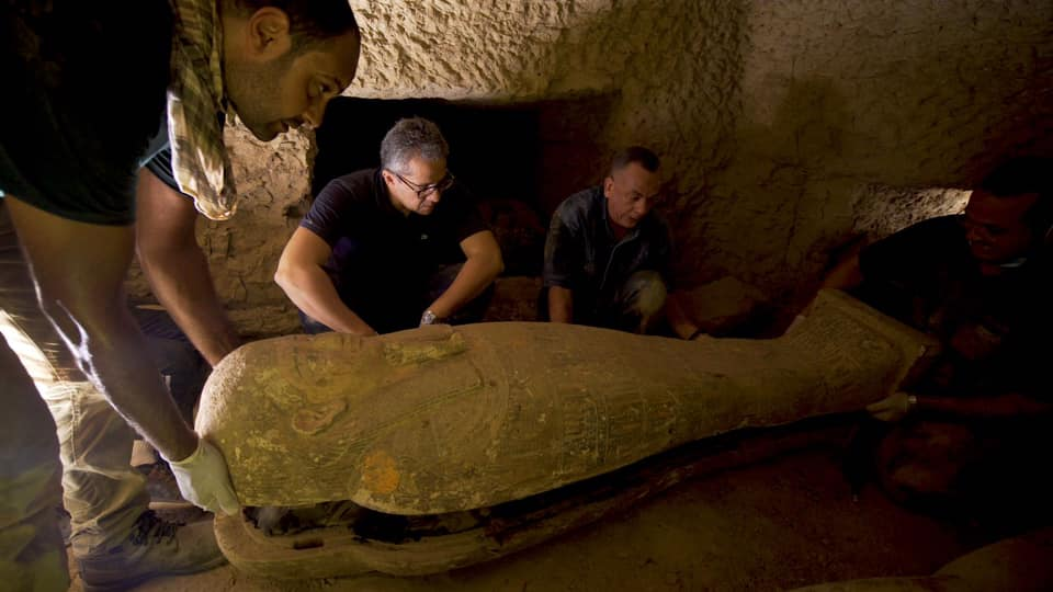 Archaeologists discover 13 coffins in Egypt