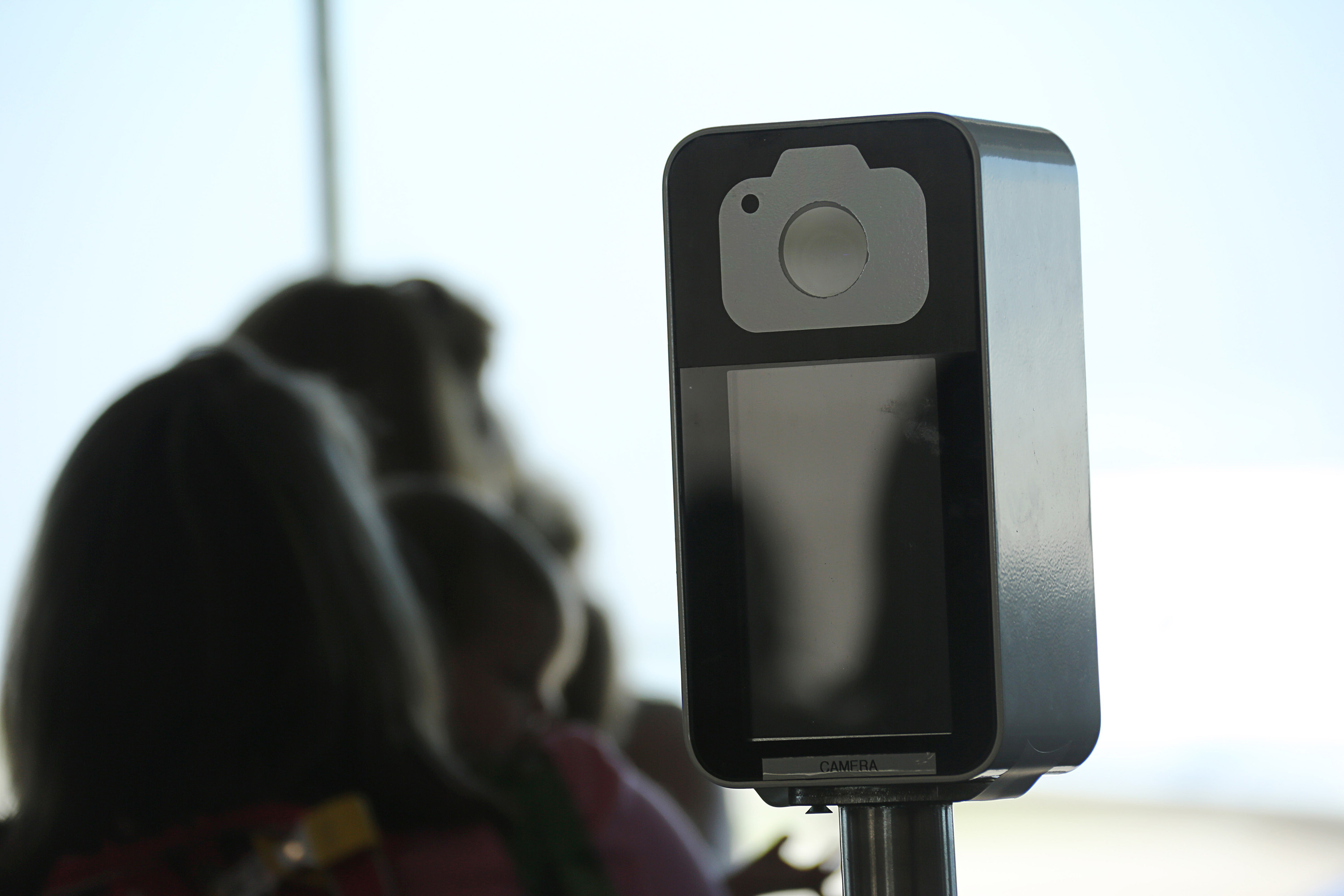 The camera in a biometric facial recognition screening device at a British Airways international gate