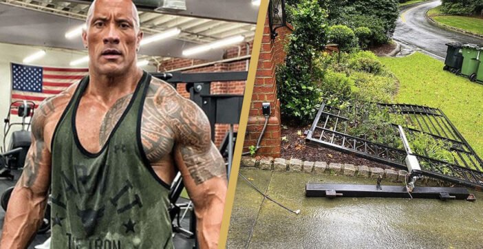 The Rock Ripped A Metal Gate Off A Brick Wall Because It Wouldn't Open
