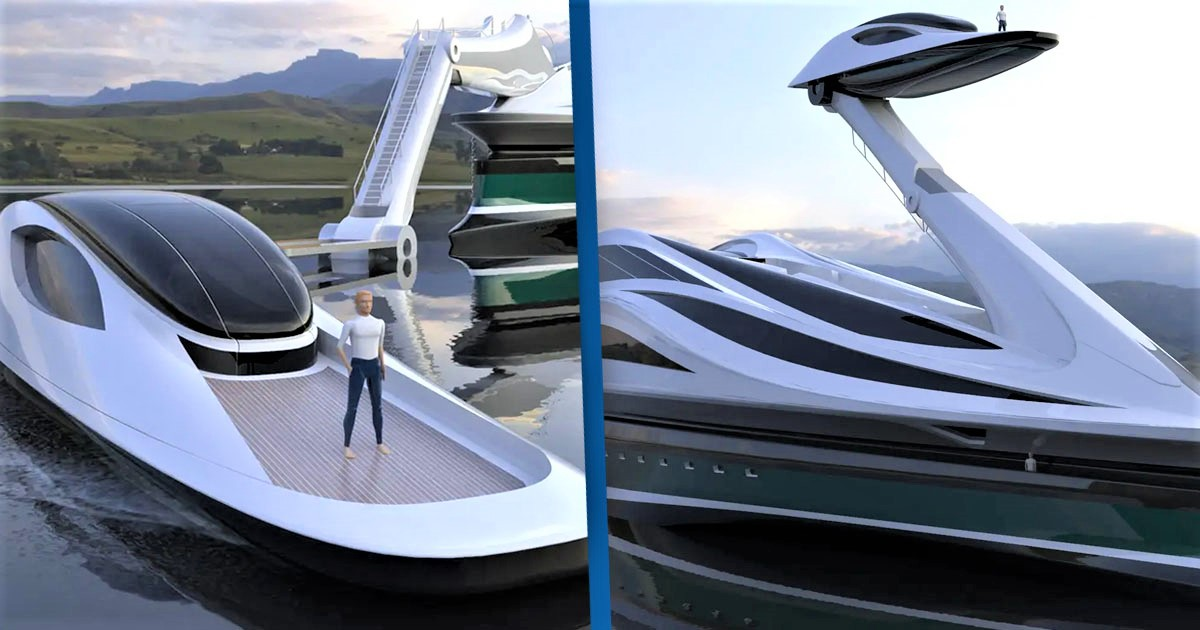 Incredible $500 Million Megayacht Shaped Like Swan With Moving Neck