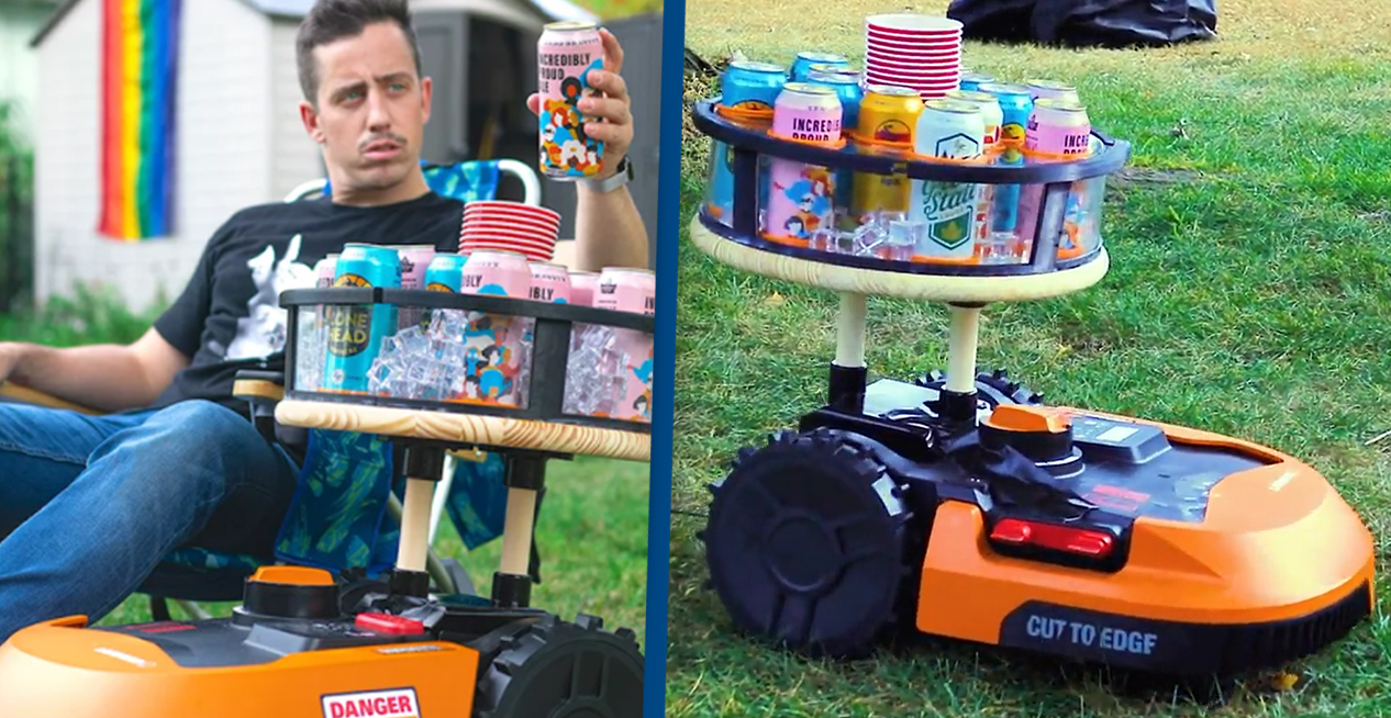 Guy Turns His Lawnmower Into A Bartender So He Never Has To Walk To Fridge Again