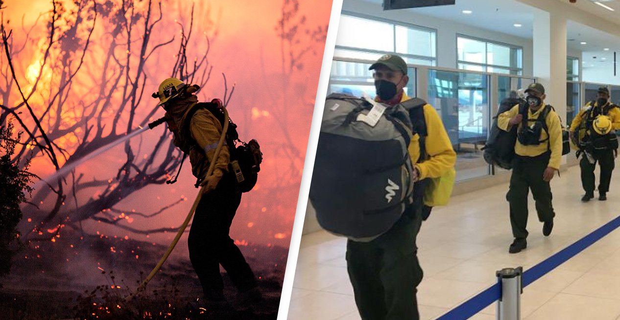 Mexican Firefighters Arrive In California To Battle Wildfires