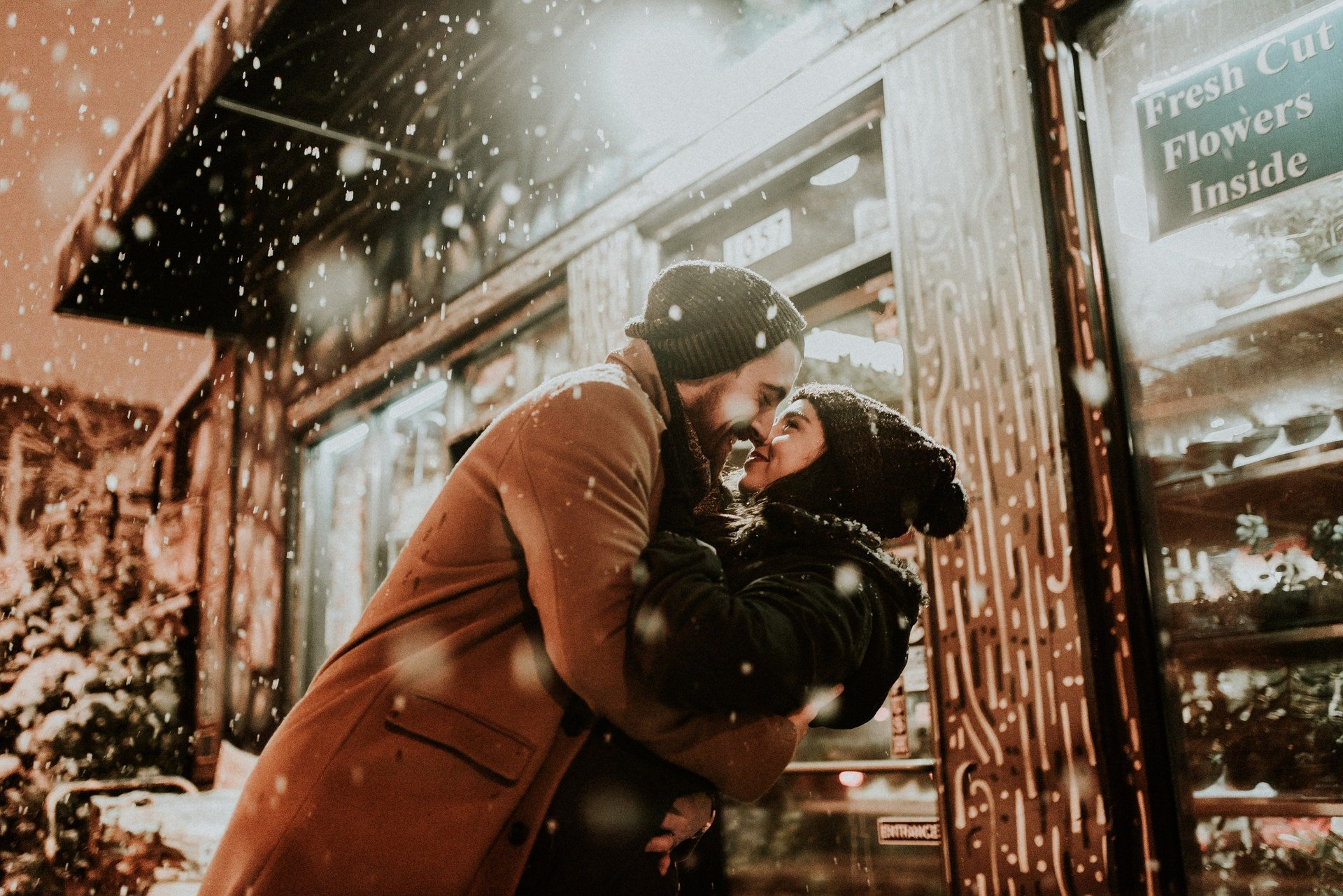 Couple kissing in winter