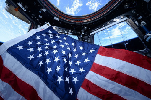 US flag in space from the ISS