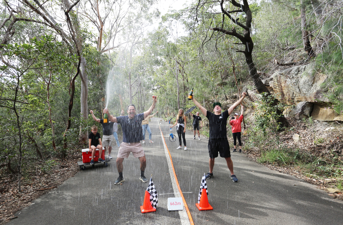 Fitzy and Wippa celebrate Hot Wheels Track