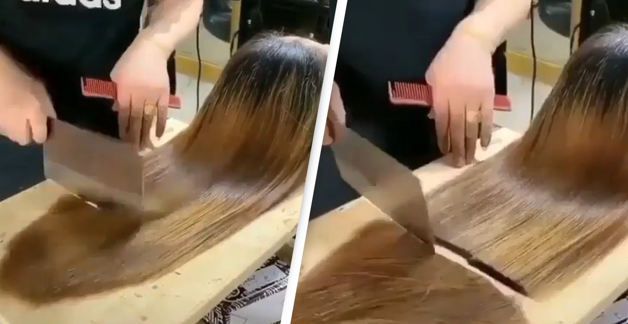 Barber Cutting Woman's Hair With Cleaver Is Most Satisfying Thing You'll See Today