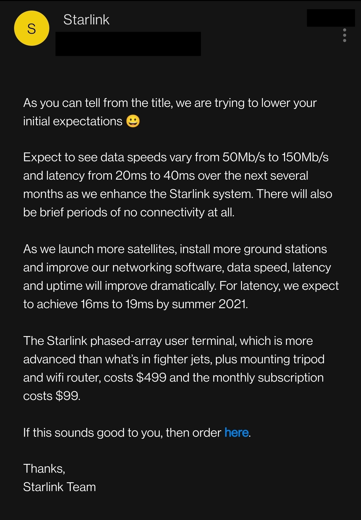 SpaceX Starlink info
