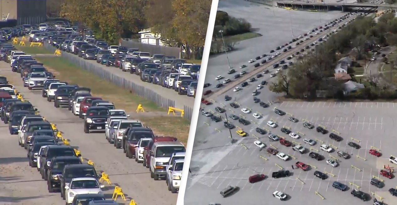 Thousands Of Cars Form Queue To Collect Food In Texas