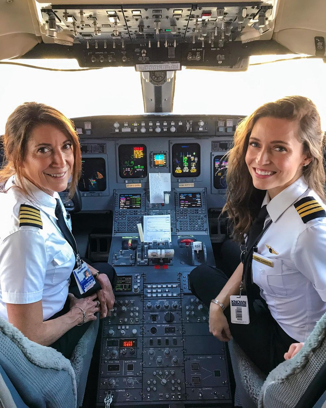 Mum and daughter in cockpit on first flight together