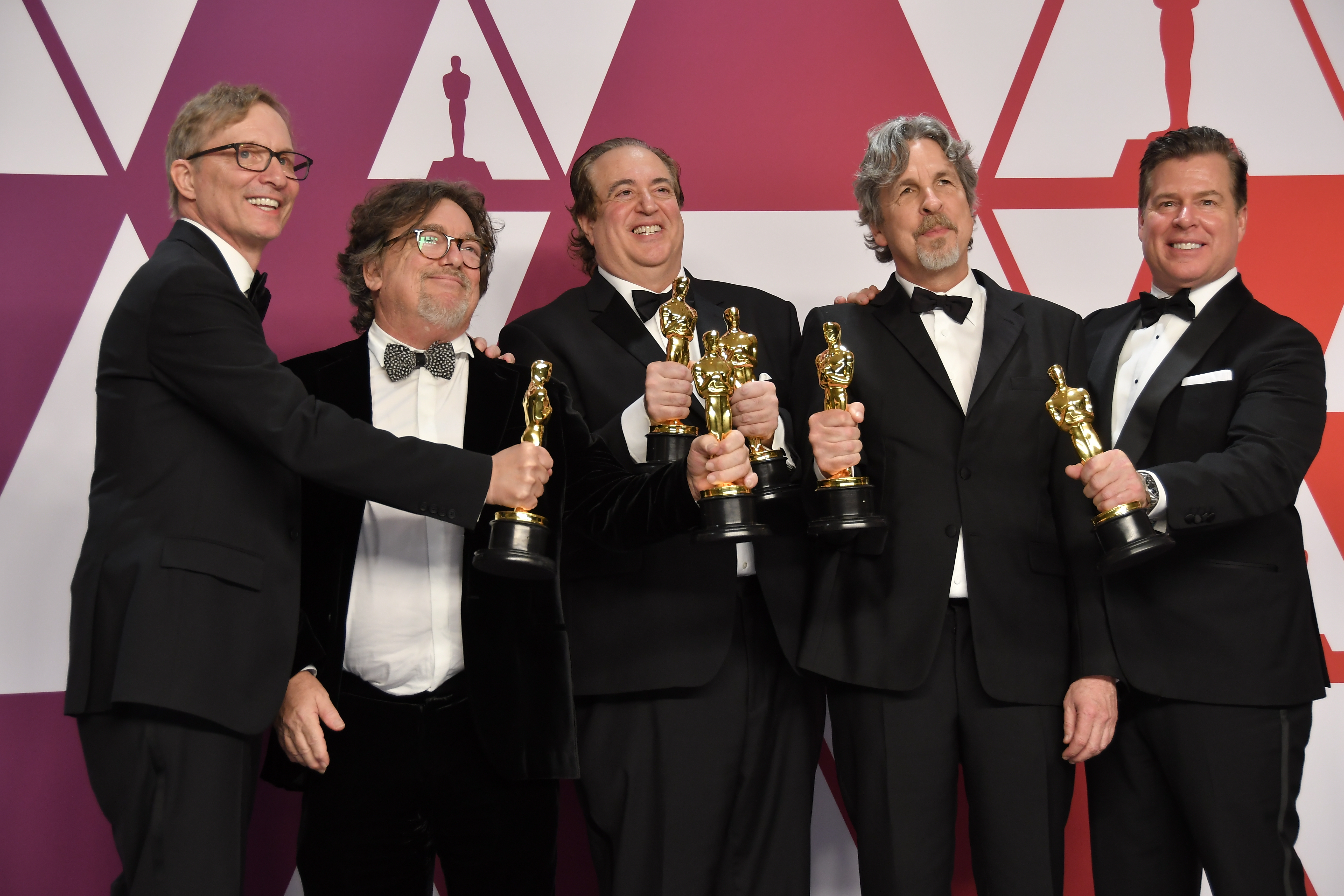 Nick Vallelonga, Peter Farrelly and Brian Currie, winners of Best Picture and Best Original Screenplay for 'Green Book,'