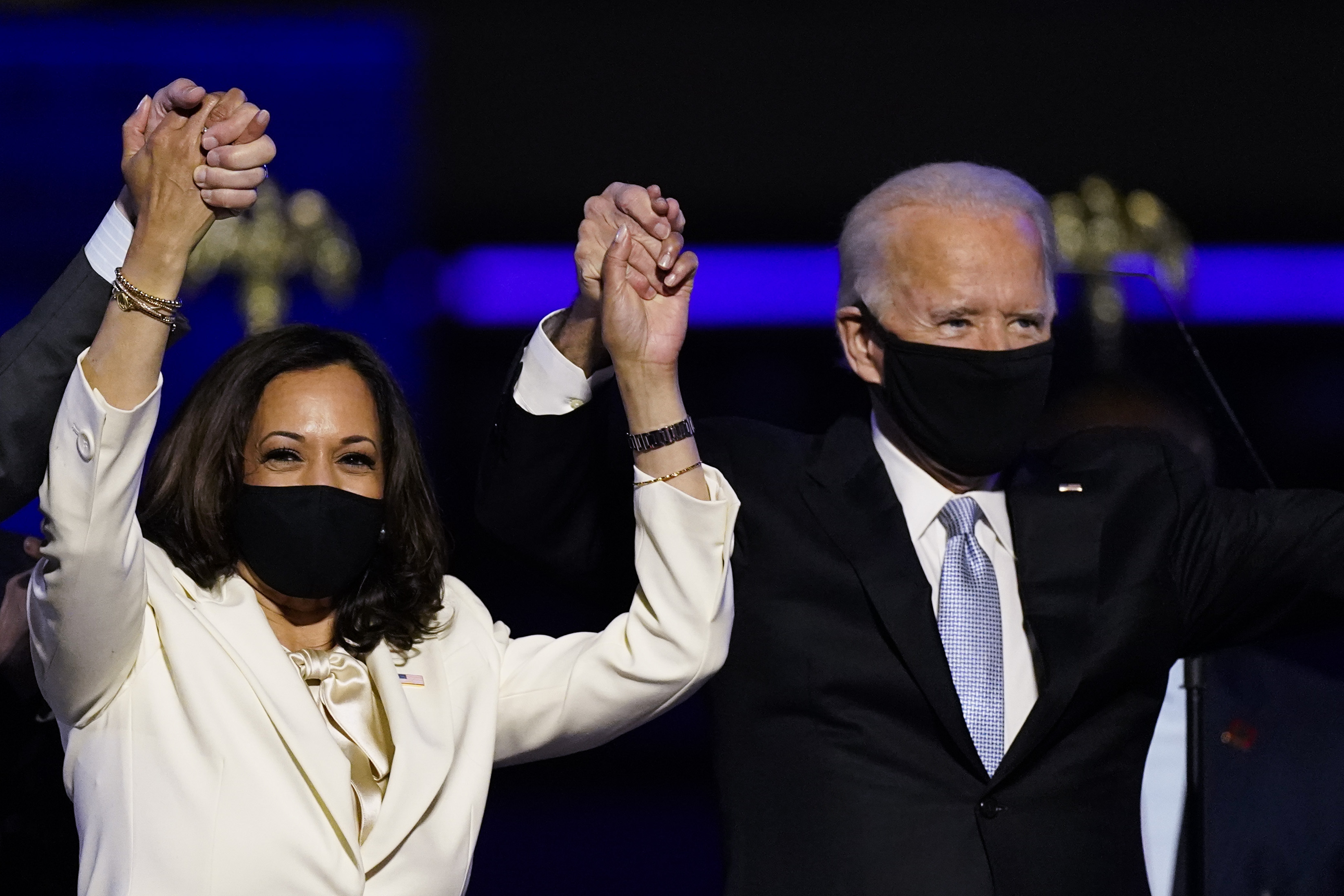 Kamala Harris and Joe Biden celebrate win