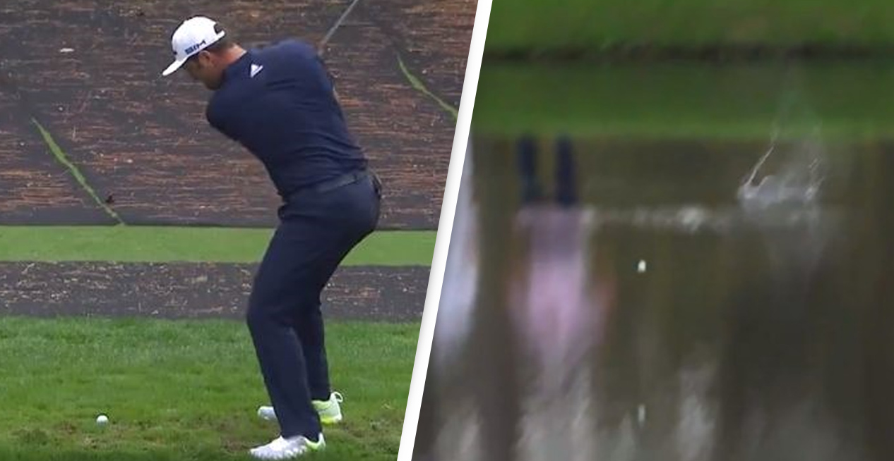 Golfer Hits Unbelievable Hole-In-One By Skimming It Across Water