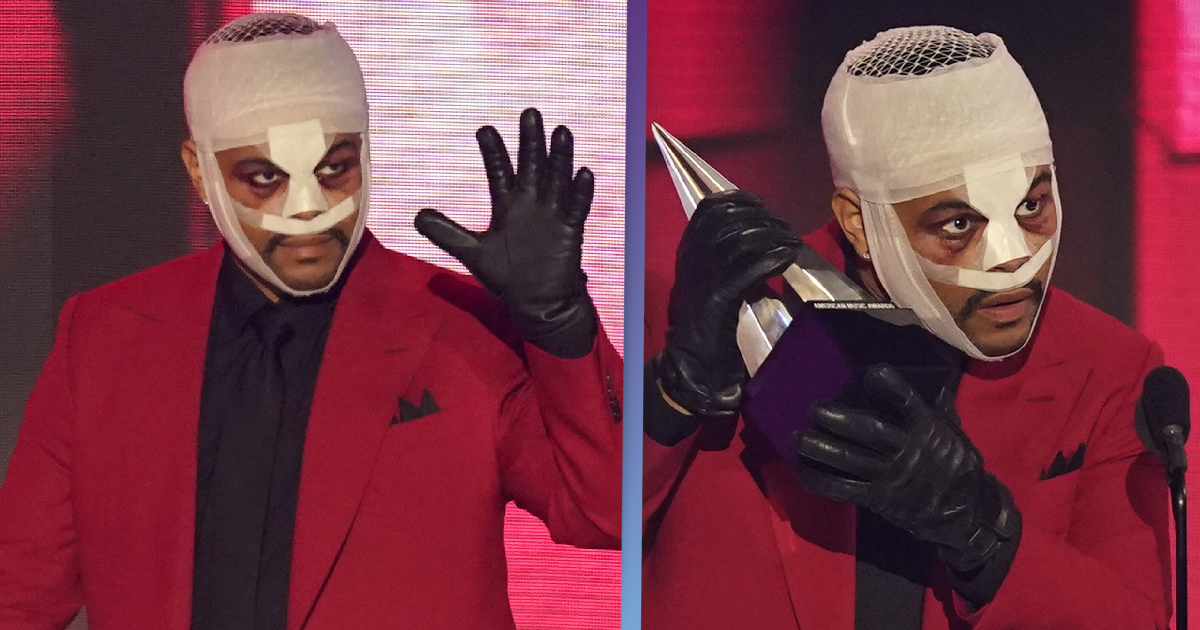 The Weeknd Accepts Award With Face Covered In Bandages