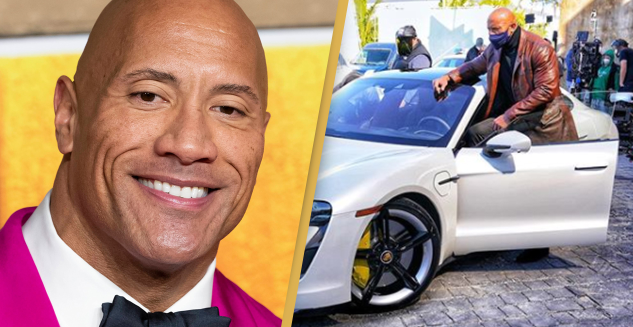 The Rock Got Stuck In A Sports Car While Filming New Movie