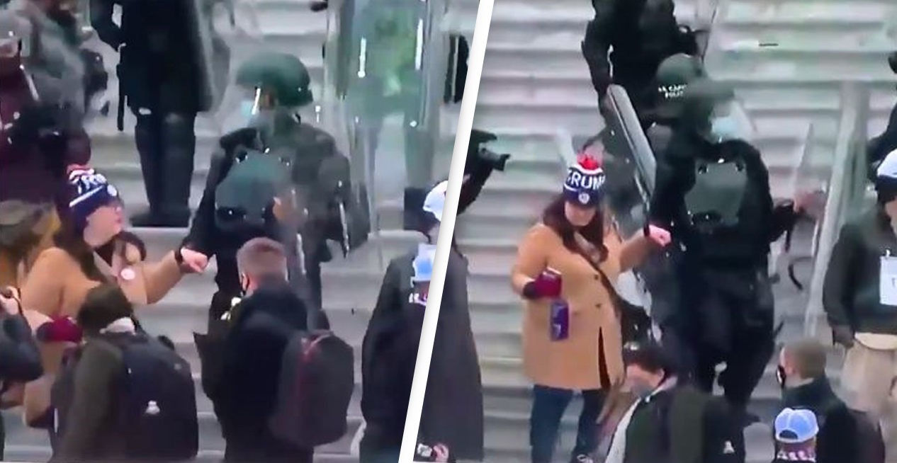 Police Officer Filmed Outside Capitol Building Holding Rioter's Hand