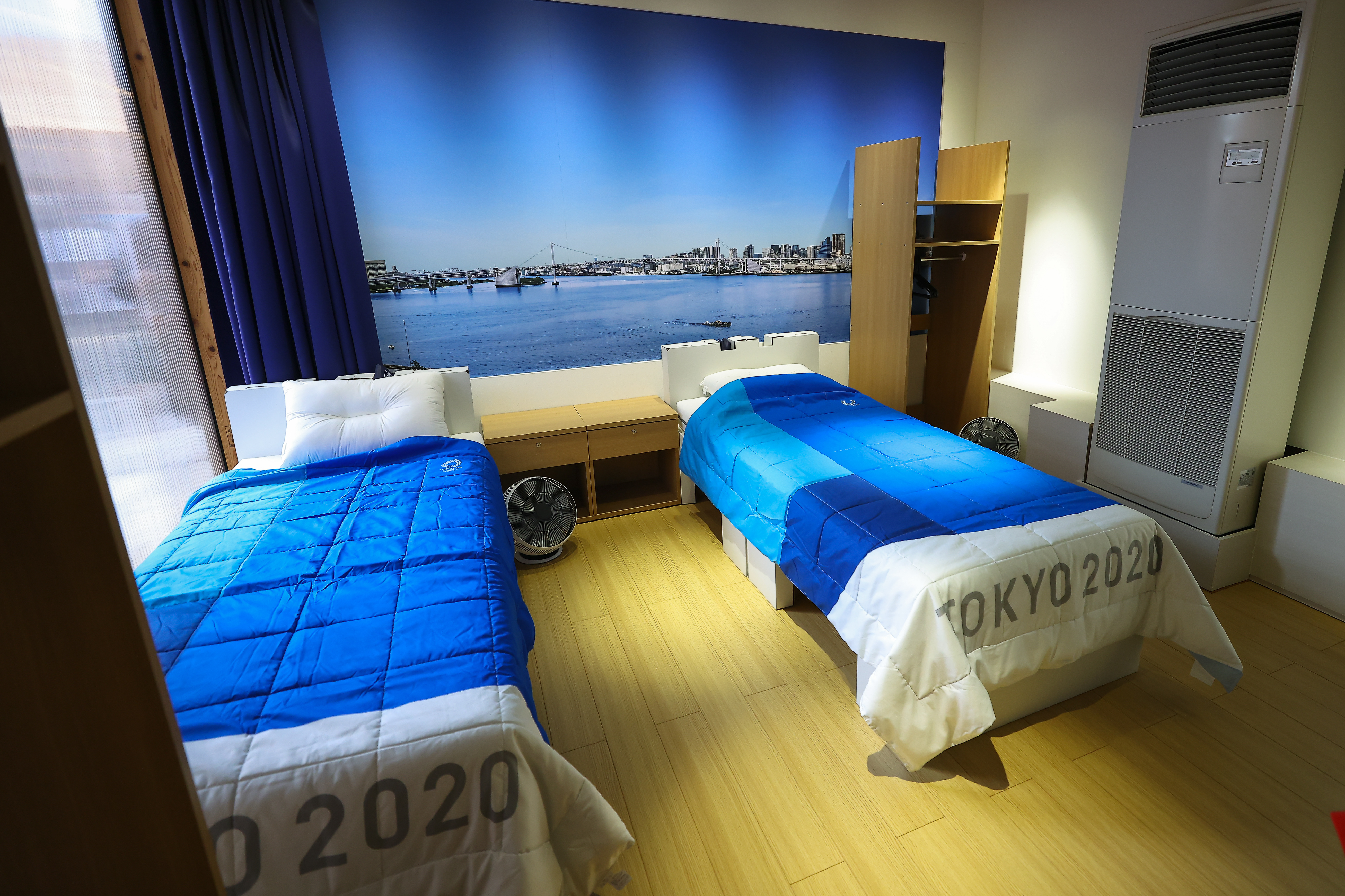The Olympic village beds in Tokyo. (PA Images)