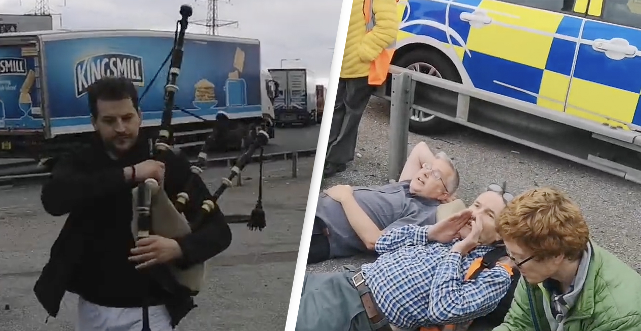 Motorist Plays Aggressive Bagpipes In Insulate Britain Protesters' Faces Amid Motorway Mayhem